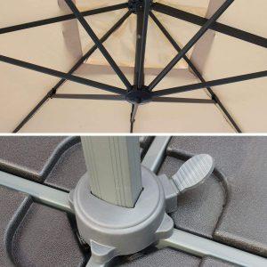 parasol déporté inclinable rotatif rectangulaire
